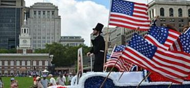 Lincoln actor at Independence Day Rally in front of Independence Hall in Philadelphia