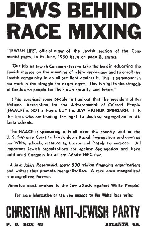 1950 Atlanta Flier warning of Jewish Race Mixing Plans